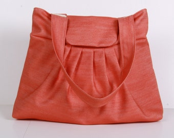Shoulder Bag ,Everyday Purse ,Tote Bag , Orange.
