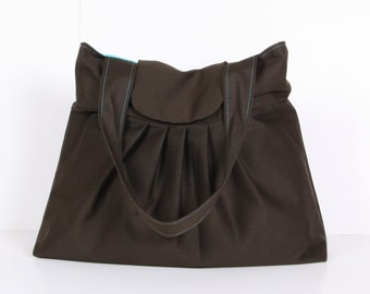 Everyday Purse, Pleated Bag, Shoulder Bag ,Tote Bag , Brown cotton ,turquois lining...MIST
