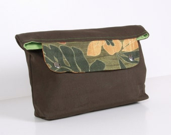 ZEN ... clutch , pouch ,dark olive green canvas with green lining
