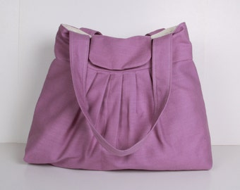 Purple Pleated Bag, Shoulder Bag ,Everyday Purse ,Tote Bag,Lilac ...MIST