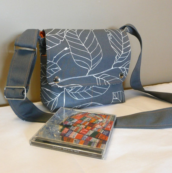 Messenger bag ,cross-body ,mini,small, Gray canvas with leaves ,adjustable strap