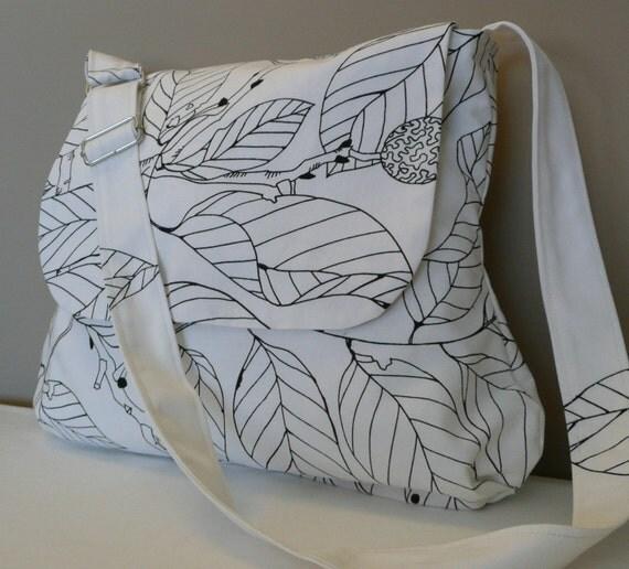 JOYFUL...Messenger, Shoulder Bag, Travel Bag White Canvas with leaves
