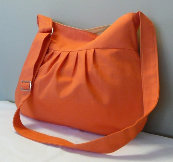 Orange Shoulder Bag...Everyday purse, Messenger Bag Shoulder Bag , Orange Canvas,adjustable strap
