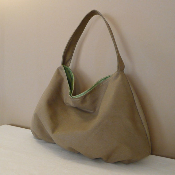 BEIGE HOBO Bag , Tote Bag, handbag,canvas with green lining,