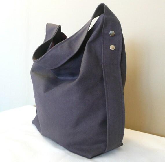 Gray Hobo Bag , Shoulder bag ,Diaper bag ,Large bag, Dark Gray Canvas With Purple lining,...DESIRE