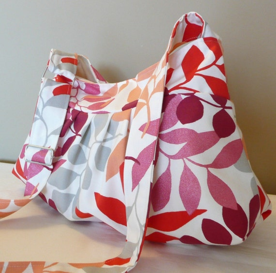 Everyday Bag , Shoulder Bag,messenger bag, adjustable strap, Red,Pink,Burgundy,Salmon,White,Leaves