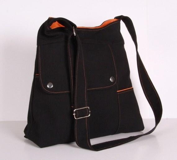 Shoulder Bag ,Messenger bag, School bag, Black Canvas with Orange lining, Adjustable Strap