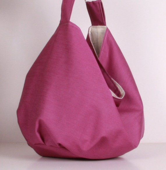 Hobo Bag , Shoulder bag , everyday bag Fuchsia with cream lining