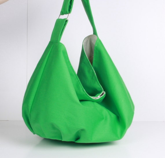 Hobo Bag ,handbag , Shoulder bag , Tote bag ,everyday bag Green with cream lining