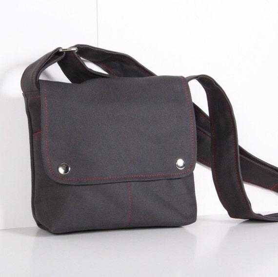 Messenger bag ,cross-body ,mini,small, Dark Gray canvas ,adjustable strap..MINI CITY