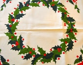 Reserved for Sandra - Wreaths of Holly Table Cover