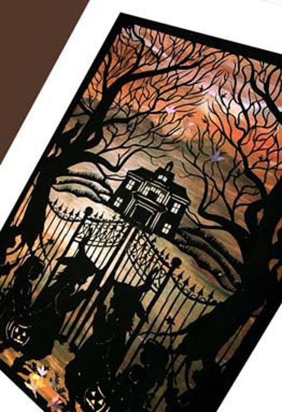 Witches Halloween  Greeting Card,-  Gothic Mansion, Haunted House, Trick or Treat card, witches