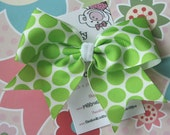 Lime Green Big Dots  ... NO SLIP Classic Tylie Bow