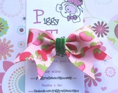 Strawberry Garden  Mini Tylie Bow on a NO SLIP velvet lined clip