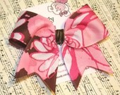 Pink and Brown Graffiti...Classic Tylie Bow on a NO SLIP velvet lined clip