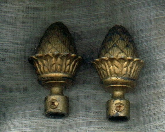 Shabby Pineapple Curtain Rod Finials Vintage Cottage Chic Pole
