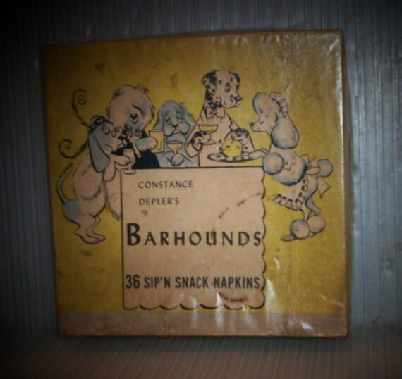 Vintage Dog Napkins 1950s Barhounds Comic Dress Pups Constance Depler's