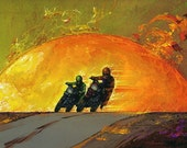Motorcycle riders outrunning a fireball
