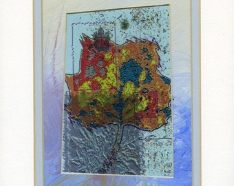 Mixed media collage, Multi colored leaf