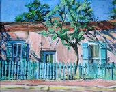 Santa Fe Painting Canyon Road Southwestern Original Painting, Framed. New Mexico  Adobe House Oil Painting turquoise pink Gwen Meyerson