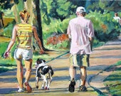 Dog Lover Fine Art Print  8x10, Man and Woman Walking Dog, Dog Painting by Gwen Meyerson