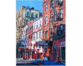 New York Art NYC Art West Village Print, On Grove Street, NYC red white blue Painting by Gwen Meyerson