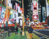 New York Art NYC Art Wall Decor Times Square Night Art Print Cityscape Painting black neon  8x10, NYC Urban Painting by Gwen Meyerson
