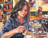 Cafe Art, Coffee Art, Bleecker Street, Greenwich Village, West Village Fine Art Print 8x10, Girl In Cafe Painting by Gwen Meyerson