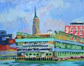 """Empire State Building NYC Painting Art  Print Cityscape Painting 8x10, """"Empire State From the Pier"""" City Painting by Gwen Meyerson"""