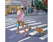 Walking Dogs, Fine Art Print  8x8, NYC Cityscape  Painting pink blue gray by Gwen Meyerson
