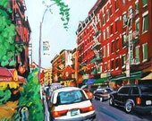 LIttle Italy New York Art NYC Art Wall Decor NYC Fine Art Print Cityscape Painting 8x10, red green New York City painting by Gwen Meyerson