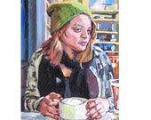 """Urban Vintage Cafe Figurative Fine Art Print 8x10, """"Cappuccino Girl"""" Brooklyn Painting by Gwen Meyerson"""