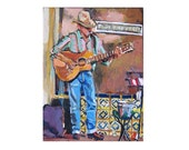 "Cowboy with Guitar Art Print 8x10, ""Singing Cowboy"" Southwestern Painting by Gwen Meyerson"