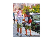 """Family Love  Brooklyn Art Print. Fathers and Children, """"Riding High"""" kids and dads Painting by Gwen Meyerson"""