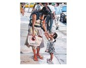Mother and Child Mama Pick Me Up figurative NYC Fine Art Print street scene 8x10, City white black Painting by Gwen Meyerson