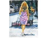 City Girl In Pink Dress Watercolor painting NYC Figurative Art Print 8x10 NYC Urban Fine Art Gwen Meyerson