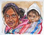 South America Art Mother and Child Painting Peruvian Andes Ethnic Indian South American Art Frame Original Watercolor  8x10 by Gwen Meyerson