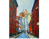 Gay Street Greenwich Village NYC Fine Art Print 8x10, New York Cityscape Skyline Painting by Gwen Meyerson