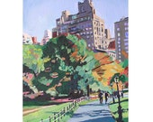 "Central Park Autumn In New York Art NYC Landscape New York Painting Print 8x10, ""Walk Through Central Park"", Cityscape  by Gwen Meyerson"