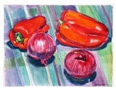 Red Peppers and Red Onions, Fine Art Print Still Life Watercolor, red purple Painting by Gwen Meyerson