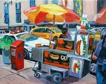 Hot Dog Cart, food vendor urban painting New York Art NYC Street Eats Wall Decor Art Print Cityscape New York red yellow blue Painting
