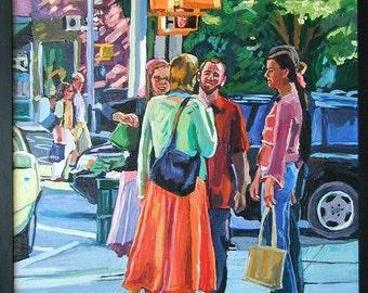 New York Painting Original West Village NYC Figurative Painting, Greenwich Village. New York City Urban Gwen Meyerson