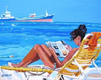 Beach Girl Art Print  8x10 11x14 or 12x16 Woman Beach Lounger, Sunbather Sun Sand Ocean Painting by Gwen Meyerson