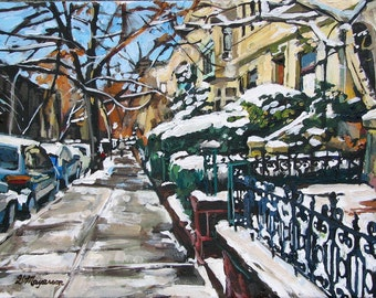 Park Slope near Prospect Park Brooklyn In Snow Fine Art Print 8x10, white green Painting by Gwen Meyerson