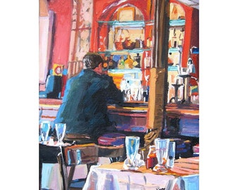 Brooklyn Fort Greene, near Pratt, Man at Red Bar, Bistro,  Fine Art Print 8x10, Chez Oskar Resturant Cafe interior Painting by Gwen Meyerson