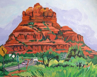 Bell Rock Sedona Art Fine Art Print Desert Landscape 8x10, Arizona hiking Mesa red Rocks orange green Painting by Gwen Meyerson