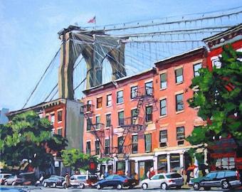Brooklyn Bridge Fine Art Print 8x10,  Dumbo New York City Cityscape NYC Red Buildings Painting by Gwen Meyerson