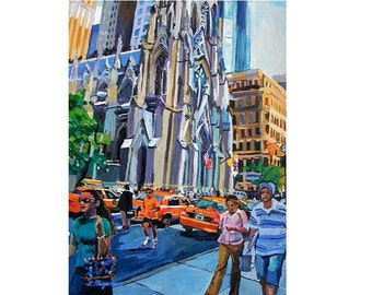 St. Patrick's Cathedral Fifth Avenue Art Print 8x10, New York City Painting Cityscape by Gwen Meyerson