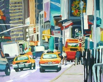 """Broadway Times Square New York Art  NYC  Painting Cityscape Painting 8x10, """"Yellow Cabs In Times Square"""" Broadway by Gwen Meyerson"""