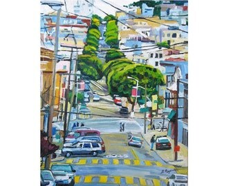 San Francisco Art Print Lombard Street  San Francisco winding streets cityscape blue green Painting by Gwen Meyerson
